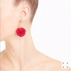 J.Crew gathered carnation Pom Pom earrings NWT